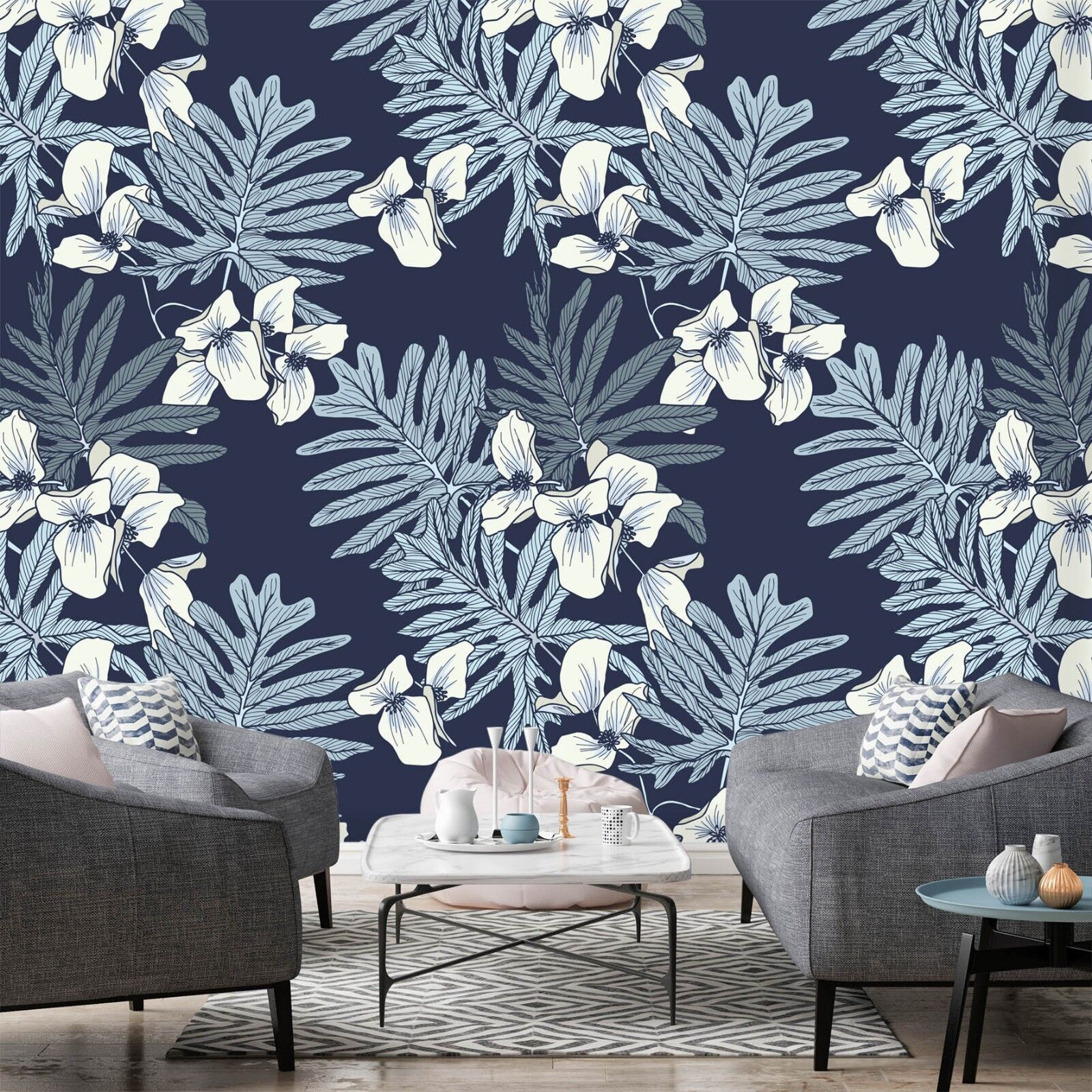 3D Petals bluee Leaves 5 Wall Paper Wall Print Decal Wall Deco Indoor Wall Murals