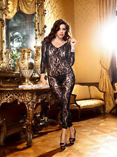 Plus Size Black Lace Bodystocking Catsuit by Baci Fits 16-18-20-22 Sexy Lingerie