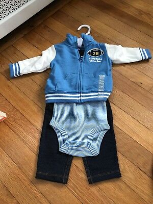 Carters Football Outfit 3 or 6 Months 3 Piece Set Brand New