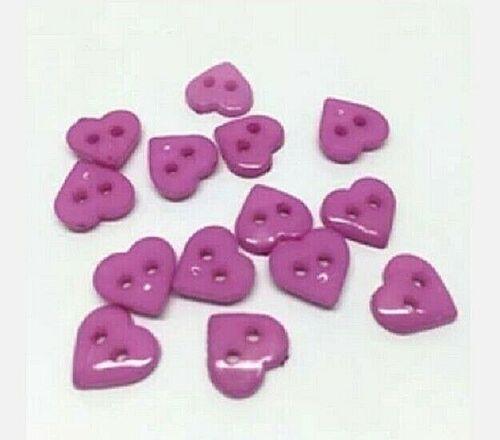 "2121 10mm Scrapbook Craft Pkg of 100 HEARTS 2-hole Plastic Buttons 3//8/"""