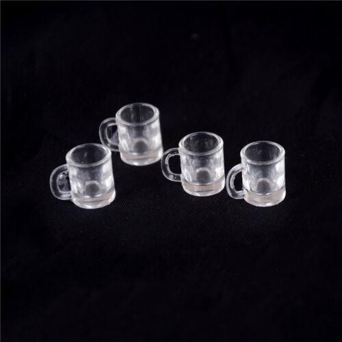 T 4 pcs 1//12 Doll house Miniature kitchen tableware plastic beer mug glass cups