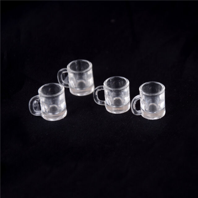 4 pcs 1//12 Doll house Miniature kitchen tableware plastic beer mug glass cups  B