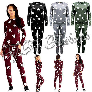 Women-Ladies-Tracksuit-Star-Print-Sweatshirt-Joggers-Pant-LoungeGym-Wear-Set