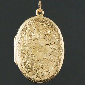 Large-Antique-Solid-14K-Yellow-Gold-Engraved-Floral-Motif-Locket-Pendant-NR