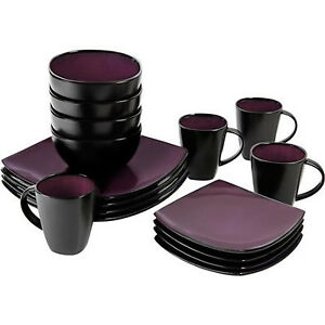 Image is loading Purple-Black-Dinnerware-Set-Square-Round-16-Pcs-  sc 1 st  eBay & Purple / Black Dinnerware Set Square Round 16 Pcs Dinner Plates Cups ...