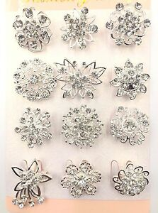 A-12-PACK-OF-BEAUTIFUL-SILVER-DIAMANTE-FLOWER-PIN-BROOCH-WEDDING-BOUQUET-BROOCH