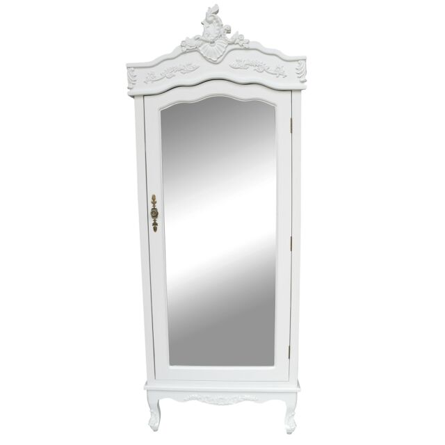 French White Single Door Armoire With Mirrored Country Shabby Chic