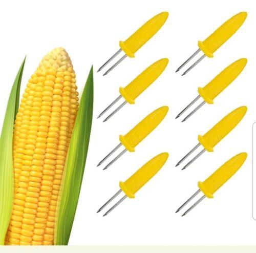 8 Acier inoxydable Maïs détenteurs Idéal Pour Parfait BBQ