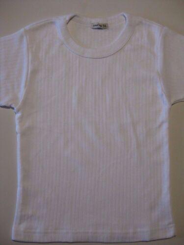 Garçons Blanc à Manches Courtes Thermique Débardeur T-Shirt Haut Âges 2 à 12 NEUF