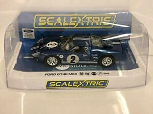 Scalextric-Ford-GT40-MKII-12-Hr-of-Sebring-1967-1-32-Slot-Race-Car-C3916-Blue
