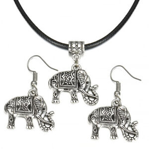 Vintage-Jewelry-Set-Tibet-Silver-Elephant-Pendant-Necklace-Hook-Earrings-Gift