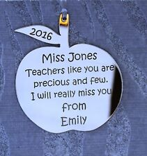 Personalised Teacher Apple GOLD MIRROR (Teachers like you)  Gift Decoration