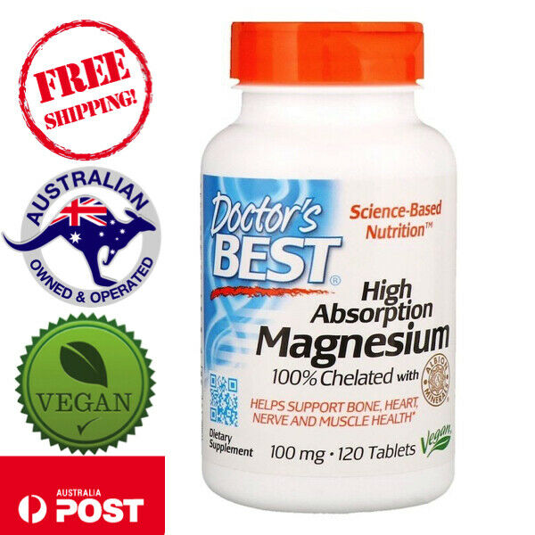 Doctor's Best Vegan Magnesium High Absorption 100% Chelated, 120 Tablets
