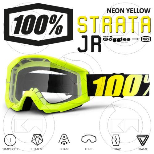 MASCHERA 100/% STRATA JUNIOR MX OCCHIALI MOTOCROSS NEON YELLOW LENTE TRASPARENTE