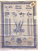 Le Telerie Toscane Italy Cotton Jacquard Kitchen Tea Towel Pasta- Blue