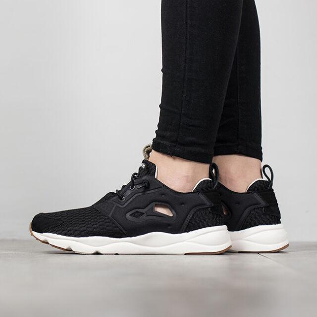 Reebok Furylite Loom Black White Gum Women Classic Running Shoes ... 34cc913db