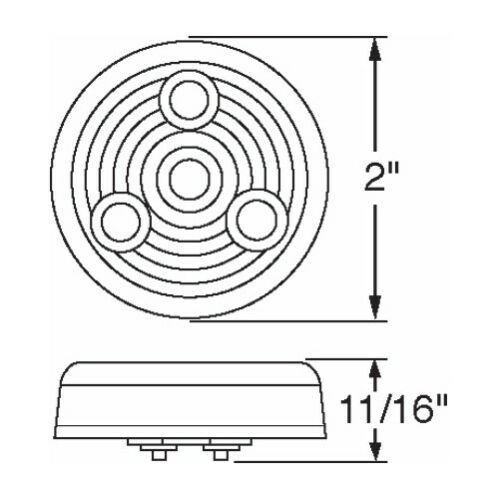 """Grommet Amber 2/"""" Round 4 LED Trailer Semi Side Marker Clearance Light Kit"""