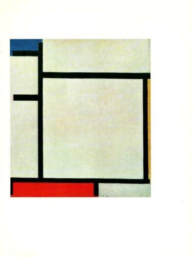 """1970 Vintage MONDRIAN /""""COMPOSITION RED YELLOW /& BLUE/"""" #2 COLOR offset Lithograph"""