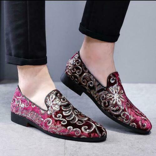 Details about  /Men Korean Fashion Stylish Velvet Embroidered Slip On  Loafers Dress Shoes #322