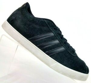 best website 710e7 eb769 Image is loading Adidas-NEO-Courtset-Black-Suede-Sneaker-Shoes-Women-