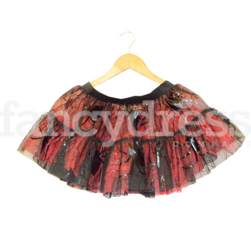 Ladies Spider Web Halloween Tutu Fancy Dress Costume Accessory Black Red NEW