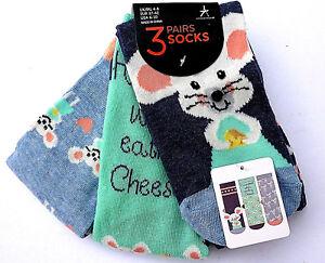 3-Paar-Maeuse-Damen-Socken-Struempfe-Maus-Maeuschen-Kaese-Lustig-Bunt-37-42-Primark