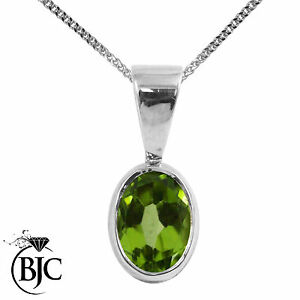 BJC-9ct-White-Gold-Natural-Peridot-Solitaire-Drop-Oval-Pendant-amp-Necklace