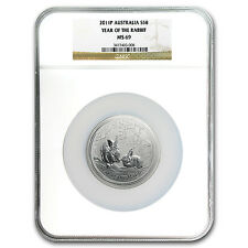 2011 Australia 5 oz Silver Year of the Rabbit MS-69 NGC - SKU #96689