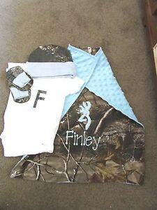 Personalized Boys 4 PC Camo Camouflage Hunting Newborn Infant Coming Home set