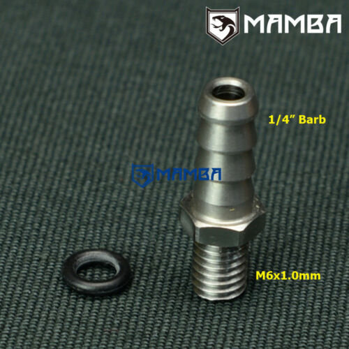 """M6x1.0 to 1//4/"""" Barb Adapter Fitting Kit Turbo Compressor Housing to Wastegate"""