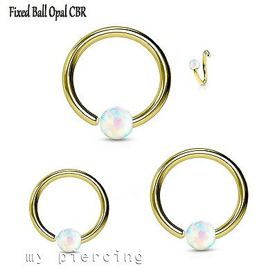 Covet Jewelry Rose Gold Synthetic Opal Ball Steel Captive Bead Ring