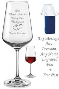 Image Is Loading Personalised Engraved Wine Glass Birthday Gift Mom Nan