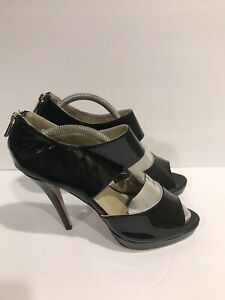 Authentic-Jimmy-Choo-Open-Toe-London-Pump-Heel-Patent-39-EUR-8-5-US-Black