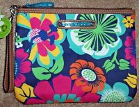 Lily Bloom Navy Blue/pink/green Floral Fiesta Tristin Wristlet/clutch Purse