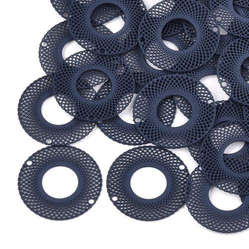 10x 430 Stainless Steel Charm Connectors Filigree Donut 1//1 Loop Deep Blue 20mm