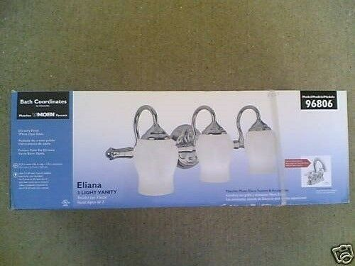 Chrome NIB Elegant Moen 3-Lite Bathroom Vanity LIGHT