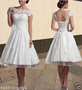New-White-Ivory-Short-Puffy-Wedding-Dress-Bridal-Gowns-Size-6-8-10-12-14-16-18