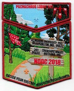 PACHACHAUG-OA-LODGE-525-BSA-MOHEGAN-COUNCIL-MA-FLAP-2018-NOAC-2-PATCH-RED-MYLAR