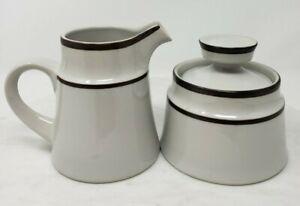 Noritake Tundra Stoneware Creamer & Sugar Bowl w/Lid Set Brown Bands Vintage