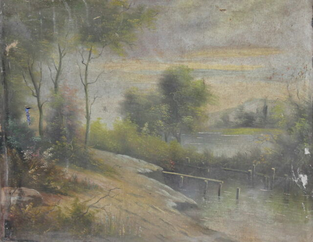 ANTIQUE XIX CENTURY OIL PAINTING LANDSCAPE