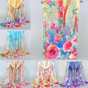 Women-Chiffon-Scarf-Long-Shawl-Flower-Feather-Printed-Scarves-Neck-Soft-Wrap