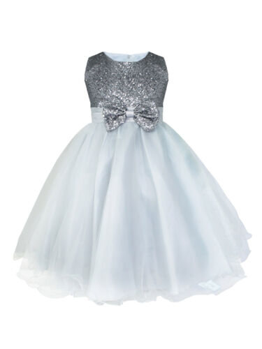 Girls Sequins Bowknot Flower Girl Dress Princess Wedding Bridesmaid Party Dress