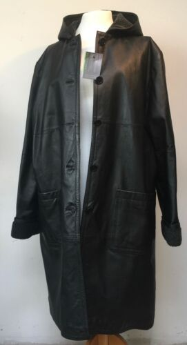 "LOOSE FITTING 100% REAL LEATHER LONG COAT WITH HOOD AND FAUX SHEARLING 52"" B"