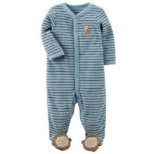 Carter s Blue Striped One-Piece Terry Monkey Sleeper Pajamas Baby Boy 6  Months 247bee0d0