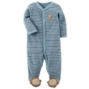 49d63dd94871 Carter s Blue Striped One-Piece Terry Monkey Sleeper Pajamas Baby ...