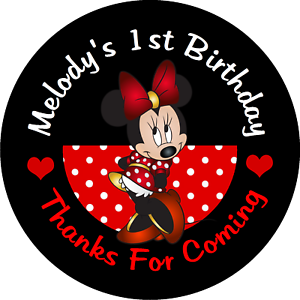 Keychain Red and Black Round with Silhouette Minnie favours birthday Online