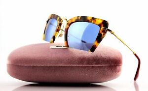 b8b9e640fd2c NEW Genuine MIU MIU Rasoir Sand Havana Blue Sunglasses SMU 10Q MU ...