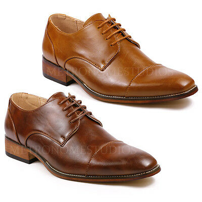 Metrocharm MC105 Men/'s Cap Toe Perforated Lace Up Oxford Dress Shoes