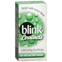 Blink Contacts Eye Drops For Soft And Rgp Lense .3 Oz (3 Pack)+ Makeup Sponge