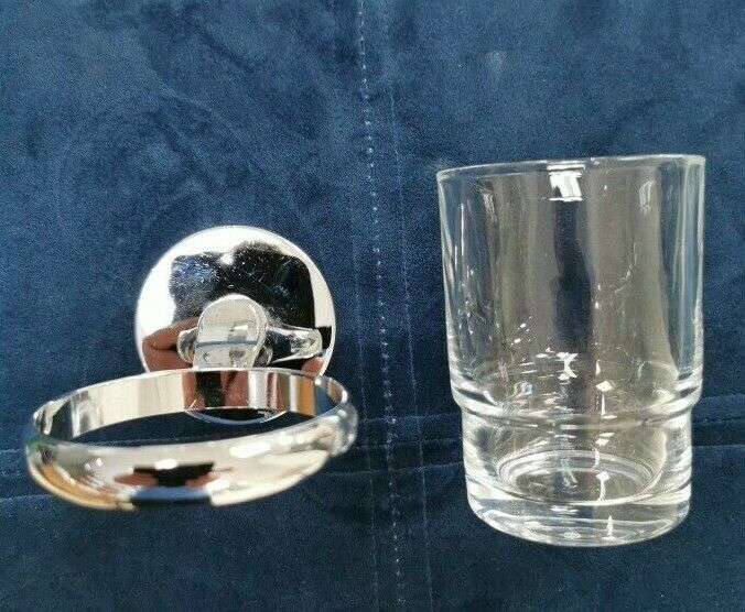 CHROME TOOTHBRUSH HOLDER/TUMBLER - Wall Mounted Premium Quality FREE DELIVERY